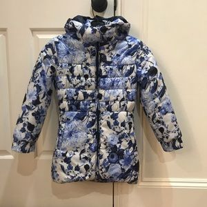 GUESS Hooded Padded Floral-Print Coat